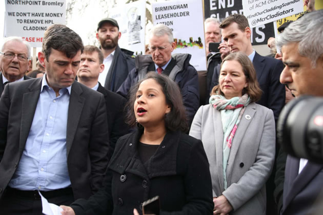 Ms Anderson (grey coat) with Sadiq Khan & Andy Burnham cladding demo earlier this year