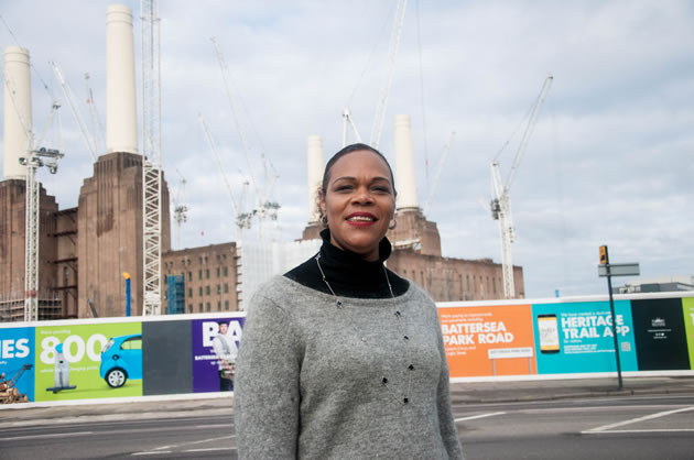 Marie Hanson MBE, outside Battersea Power Station