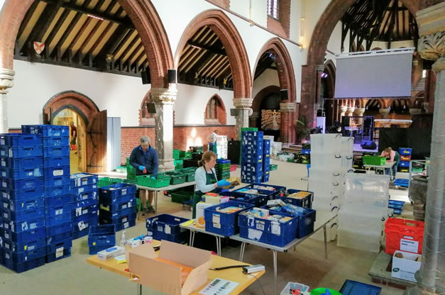 Food parcels ready for collection at St. Mark's Church. Picture: Wandsworth Foodbank